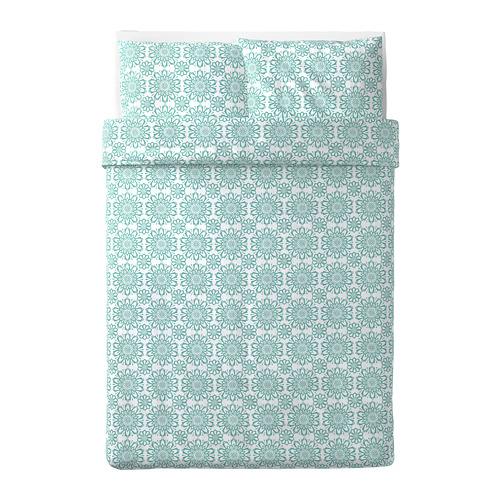 ÄNGSSALVIA 被套連2個枕袋, 白色/湖水綠色, 200x200/50x80 cm
