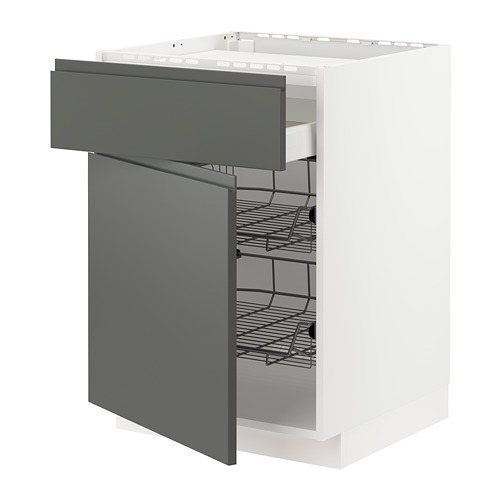 METOD/MAXIMERA - base cab f hob/drawer/2 wire bskts, white/Voxtorp dark grey | IKEA Hong Kong and Macau - PE749623_S4