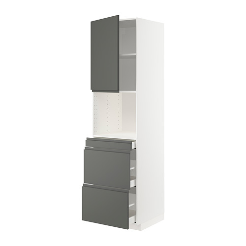 METOD/MAXIMERA - hi cab f micro combi w door/3 drwrs, white/Voxtorp dark grey | IKEA 香港及澳門 - PE749608_S4