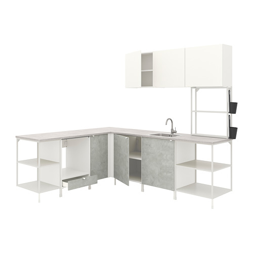 ENHET - 角位廚房, 白色/仿混凝土 白色 | IKEA 香港及澳門 - PE775524_S4