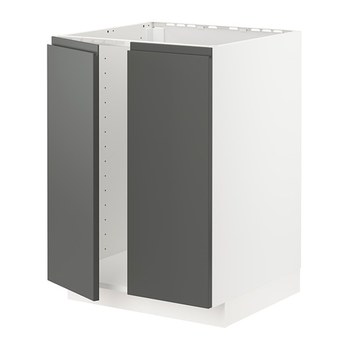 METOD - base cabinet for sink + 2 doors, white/Voxtorp dark grey | IKEA Hong Kong and Macau - PE749782_S4