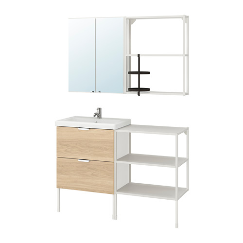 TVÄLLEN/ENHET - 浴室貯物組合 15件裝, 橡木紋/白色 PILKÅN水龍頭   IKEA 香港及澳門 - PE777518_S4