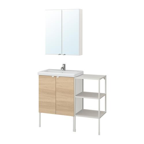 TVÄLLEN/ENHET - 浴室貯物組合 14件裝, 橡木紋/白色 PILKÅN水龍頭   IKEA 香港及澳門 - PE777465_S4