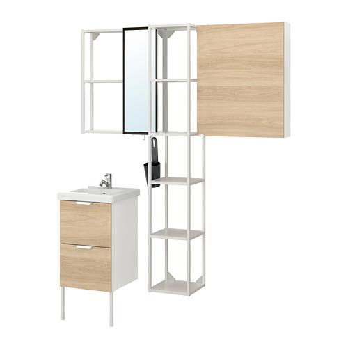 TVÄLLEN/ENHET - 浴室貯物組合 16件裝, 橡木紋/白色 PILKÅN水龍頭   IKEA 香港及澳門 - PE777481_S4