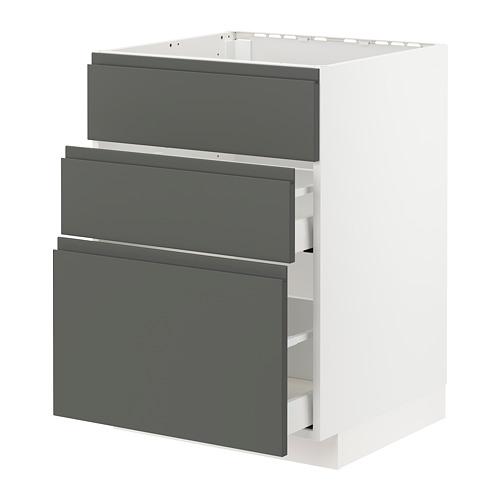 METOD/MAXIMERA - base cab f sink+3 fronts/2 drawers, white/Voxtorp dark grey | IKEA Hong Kong and Macau - PE749765_S4