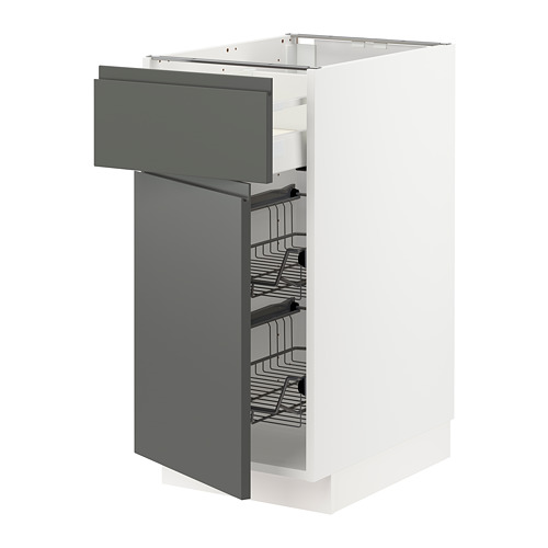 METOD/MAXIMERA - 地櫃連鋼條籃/抽屜/門, white/Voxtorp dark grey | IKEA 香港及澳門 - PE749796_S4