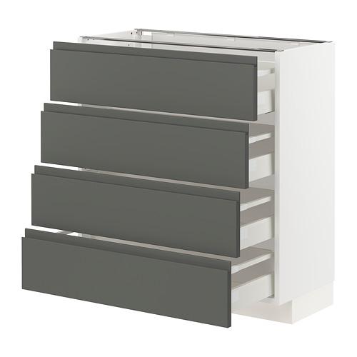 METOD/MAXIMERA - base cab 4 frnts/4 drawers, white/Voxtorp dark grey | IKEA Hong Kong and Macau - PE749827_S4
