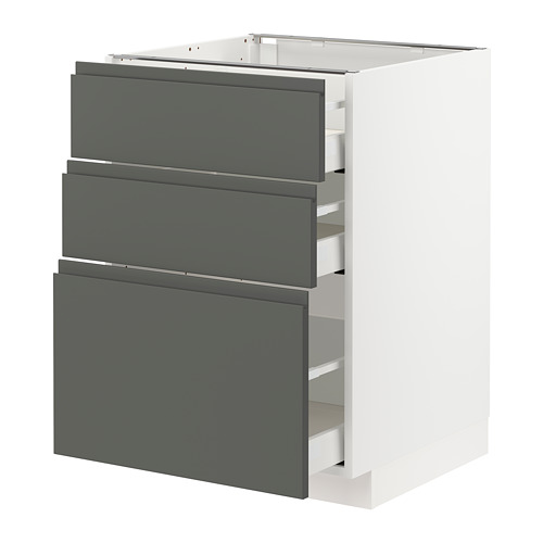 METOD/MAXIMERA - base cabinet with 3 drawers, white/Voxtorp dark grey | IKEA Hong Kong and Macau - PE749801_S4