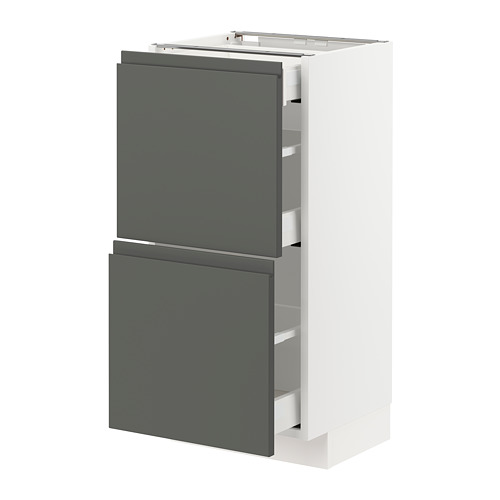 METOD/MAXIMERA - base cab with 2 fronts/3 drawers, white/Voxtorp dark grey | IKEA Hong Kong and Macau - PE749804_S4