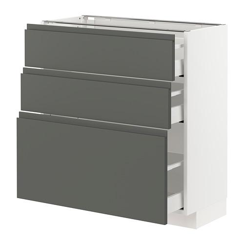 METOD/MAXIMERA - base cabinet with 3 drawers, white/Voxtorp dark grey | IKEA Hong Kong and Macau - PE749808_S4