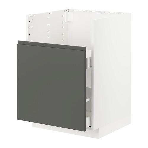 METOD/MAXIMERA - BREDSJÖN星盆用地櫃/1面板/2抽屜, white/Voxtorp dark grey | IKEA 香港及澳門 - PE749810_S4