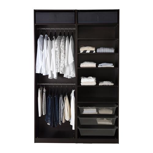 PAX - 衣櫃, 棕黑色/Hasvik 光面白色 | IKEA 香港及澳門 - PE402538_S4