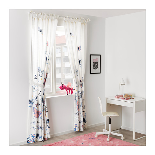 SÅNGLÄRKA - 窗簾連簾帶,一對, 蝴蝶/白色 藍色 | IKEA 香港及澳門 - PE710489_S4