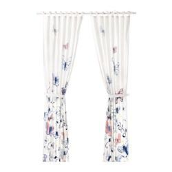SÅNGLÄRKA - 窗簾連簾帶,一對, 蝴蝶/白色 藍色 | IKEA 香港及澳門 - PE710490_S3