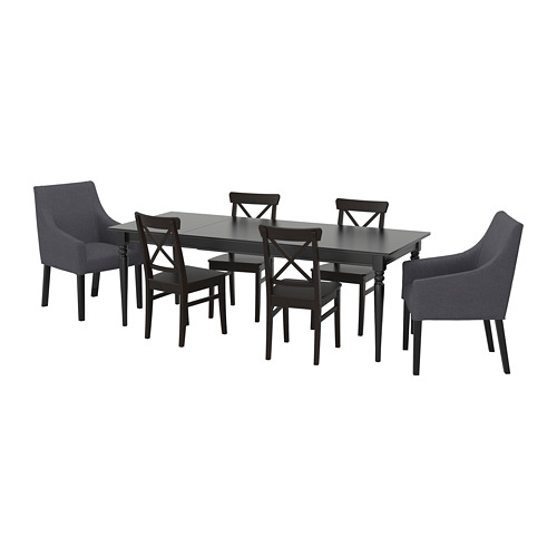 INGATORP/INGOLF - 一檯六椅, 黑色/Sporda 深灰色   IKEA 香港及澳門 - PE710930_S4