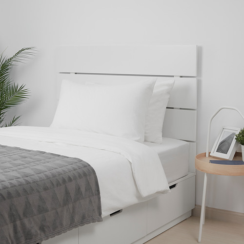 NORDLI bed frame w storage and headboard, white, Mattress size 120x183cm