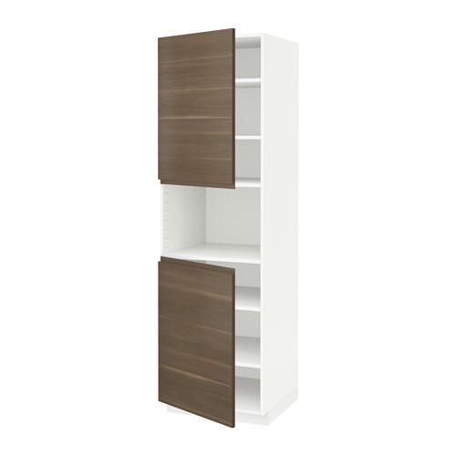 METOD - high cab f micro w 2 doors/shelves, white/Voxtorp walnut effect | IKEA 香港及澳門 - PE543777_S4