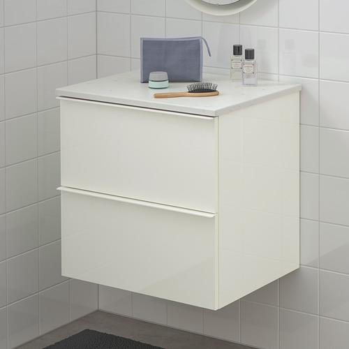 TOLKEN/GODMORGON - 雙抽屜洗手盆櫃, high-gloss white/marble effect | IKEA 香港及澳門 - PE717717_S4