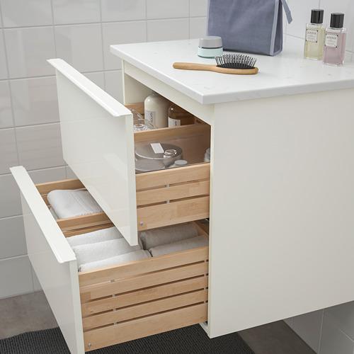 TOLKEN/GODMORGON - 雙抽屜洗手盆櫃, high-gloss white/marble effect | IKEA 香港及澳門 - PE717719_S4