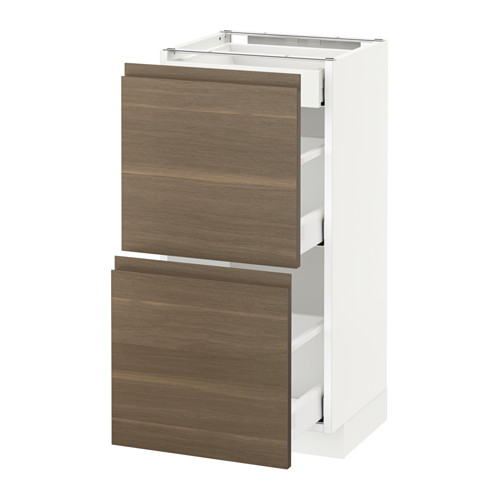 METOD - base cab with 2 fronts/3 drawers, white Maximera/Voxtorp walnut | IKEA Hong Kong and Macau - PE544078_S4