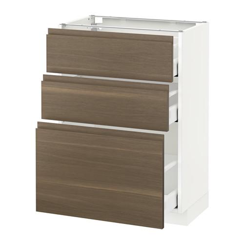 METOD - base cabinet with 3 drawers, white Maximera/Voxtorp walnut   IKEA Hong Kong and Macau - PE544094_S4