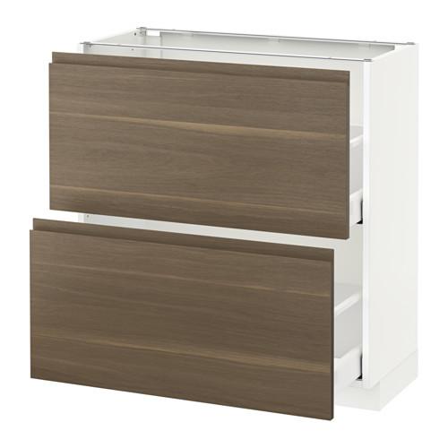 METOD - base cabinet with 2 drawers, white Maximera/Voxtorp walnut   IKEA Hong Kong and Macau - PE544113_S4