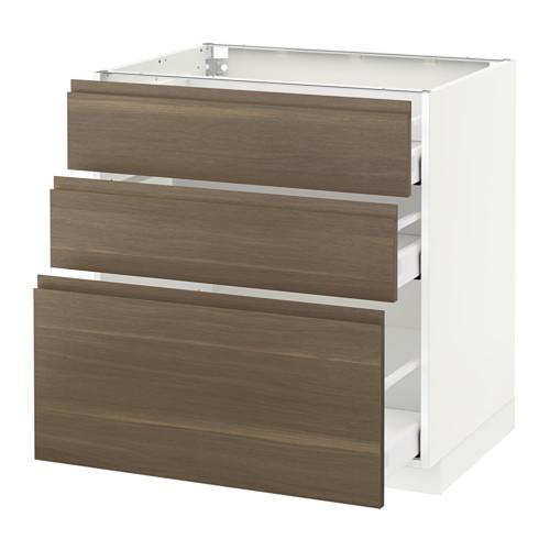 METOD - 3層抽屜地櫃, 白色 Maximera/Voxtorp 胡桃木 | IKEA 香港及澳門 - PE544217_S4