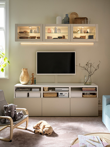 BESTÅ - 電視貯物組合/玻璃門, white Sindvik/Lappviken light grey/beige   IKEA 香港及澳門 - PH178385_S4