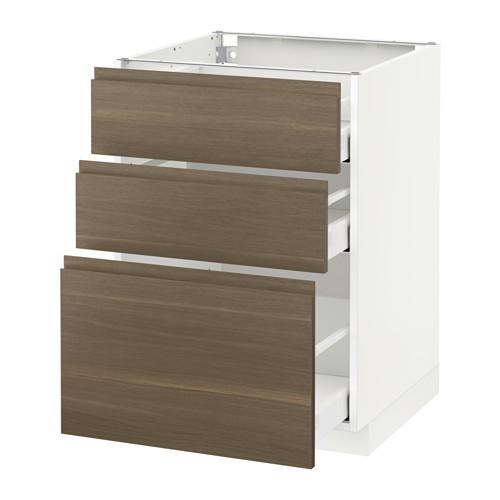 METOD - 3層抽屜地櫃, 白色 Maximera/Voxtorp 胡桃木 | IKEA 香港及澳門 - PE544280_S4