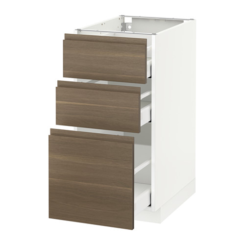METOD - base cabinet with 3 drawers, white Maximera/Voxtorp walnut | IKEA Hong Kong and Macau - PE544357_S4