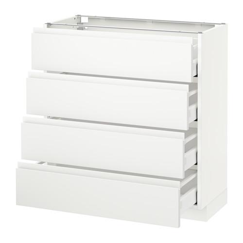 METOD - base cab 4 frnts/4 drawers, white Maximera/Voxtorp matt white | IKEA Hong Kong and Macau - PE544399_S4