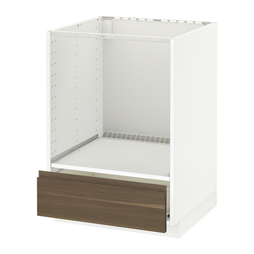 METOD - base cabinet for oven with drawer, white Förvara/Voxtorp walnut | IKEA Hong Kong and Macau - PE544411_S4
