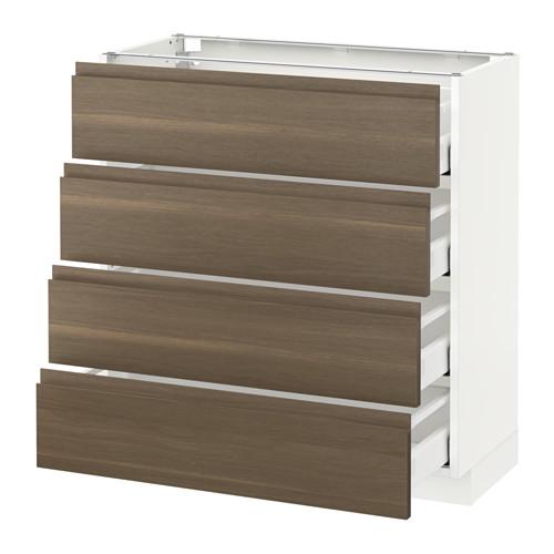 METOD - 地櫃連4面板/4抽屜, 白色 Maximera/Voxtorp 胡桃木 | IKEA 香港及澳門 - PE544453_S4