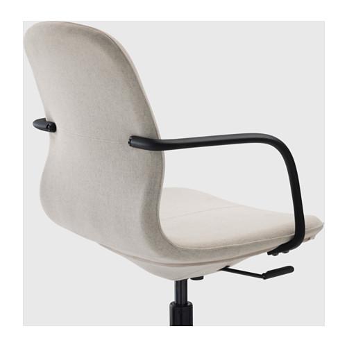 LÅNGFJÄLL 旋轉椅連扶手, gunnared 米黃色/黑色