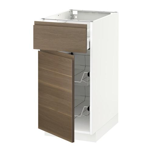 METOD/MAXIMERA - base cab w wire basket/drawer/door, white/Voxtorp walnut effect | IKEA Hong Kong and Macau - PE544570_S4