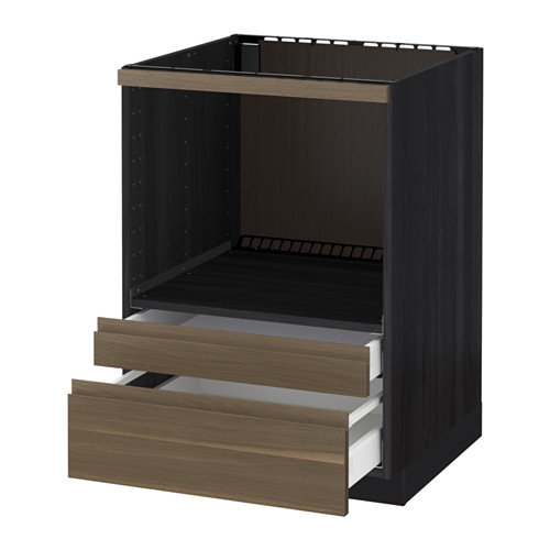 METOD - 微波爐用地櫃組合/抽屜, 黑色 Maximera/Voxtorp 胡桃木   IKEA 香港及澳門 - PE544574_S4