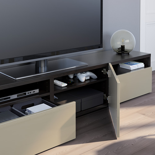 BESTÅ - 電視几, black-brown/Selsviken high-gloss/beige | IKEA 香港及澳門 - PE751053_S4