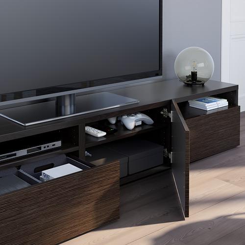 BESTÅ - TV bench, black-brown/Selsviken high-gloss/brown | IKEA Hong Kong and Macau - PE751060_S4