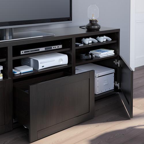 BESTÅ - 電視貯物組合/玻璃門, black-brown/Hanviken black-brown clear glass | IKEA 香港及澳門 - PE751080_S4
