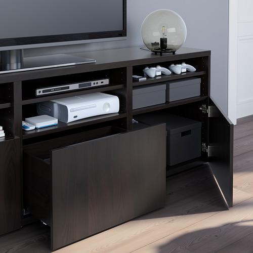 BESTÅ - 電視貯物組合/玻璃門, black-brown/Lappviken black-brown clear glass | IKEA 香港及澳門 - PE751063_S4