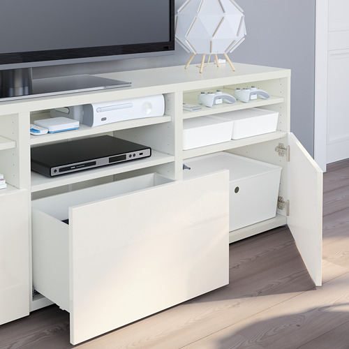 BESTÅ - 電視貯物組合/玻璃門, white/Selsviken high-gloss/white clear glass | IKEA 香港及澳門 - PE751075_S4