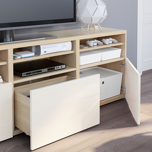 BESTÅ - 電視貯物組合/玻璃門, white stained oak effect/Selsviken high-gloss/white clear glass | IKEA 香港及澳門 - PE751070_S4