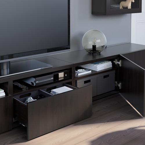 BESTÅ - 電視貯物組合/玻璃門, black-brown/Lappviken black-brown clear glass | IKEA 香港及澳門 - PE751089_S4