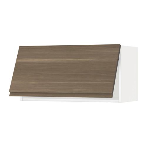 METOD - wall cabinet horizontal w push-open, white/Voxtorp walnut effect | IKEA 香港及澳門 - PE544666_S4