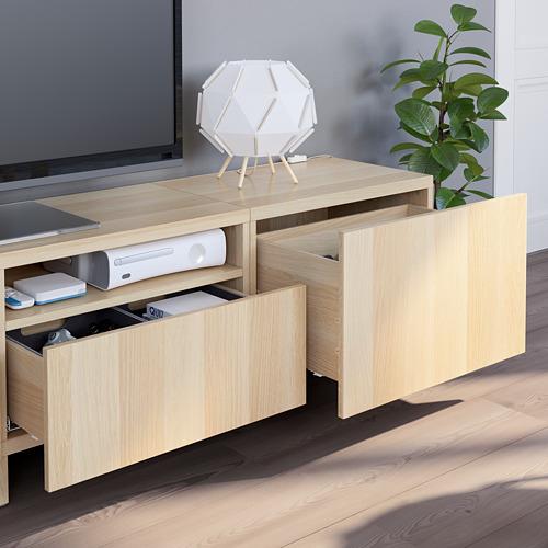 BESTÅ - 電視貯物組合, white stained oak effect/Lappviken/Stubbarp white stained oak effect | IKEA 香港及澳門 - PE751103_S4