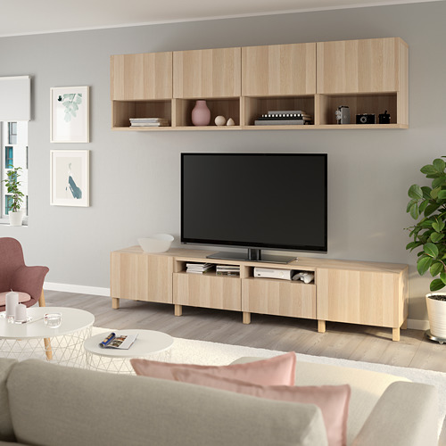 BESTÅ - 電視貯物組合, white stained oak effect/Lappviken/Stubbarp white stained oak effect | IKEA 香港及澳門 - PE751104_S4