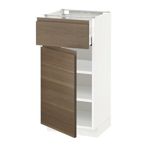 METOD/MAXIMERA - 地櫃連抽屜/門板, white/Voxtorp walnut effect | IKEA 香港及澳門 - PE544925_S4