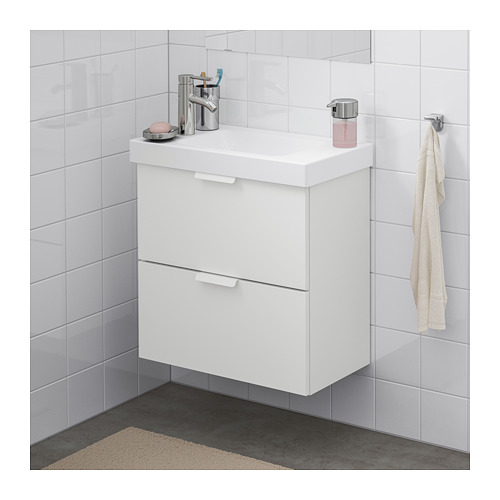 GODMORGON/HAGAVIKEN 雙抽屜洗手盆櫃