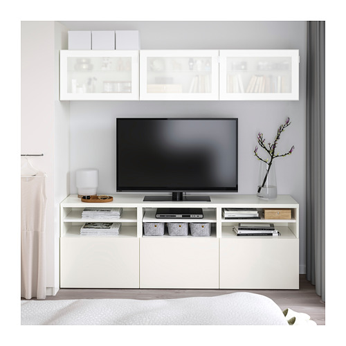 BESTÅ - TV storage combination/glass doors, white/Selsviken high-gloss/white frosted glass | IKEA Hong Kong and Macau - PE711437_S4