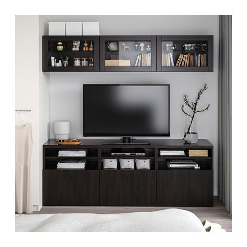 BESTÅ - TV storage combination/glass doors, Lappviken/Sindvik black-brown clear glass | IKEA Hong Kong and Macau - PE711439_S4